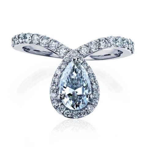 Annello by Kobelli 14k White Gold 1-2/5ct TGW Pear Drop Moissanite and Diamond V-Shape Ring