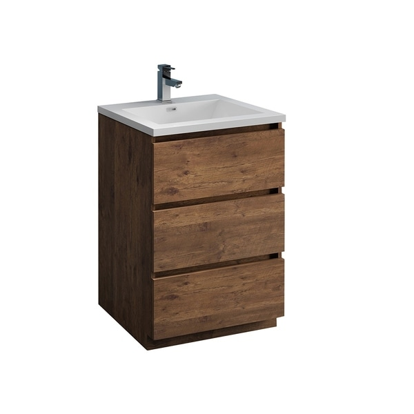 "Fresca Lazzaro 24"" Rosewood Free Standing Modern Bathroom Cabinet w/ Integrated Sink"