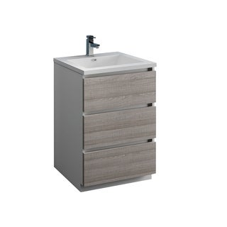 "Fresca Lazzaro 24"" Glossy Ash Gray Free Standing Modern Bathroom Cabinet w/ Integrated Sink"