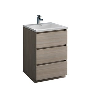 "Fresca Lazzaro 24"" Gray Wood Free Standing Modern Bathroom Cabinet w/ Integrated Sink"
