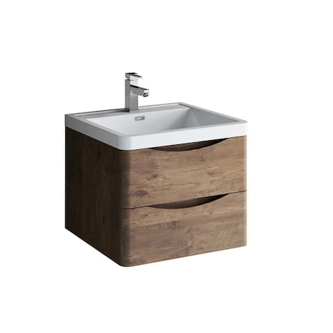 """Fresca Tuscany 24"""" Rosewood Wall Hung Modern Bathroom Cabinet w/ Integrated Sink"""