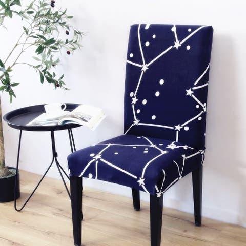Enova Home Dark Blue Elegant Polyester and Spandex Stretch Washable Box Cushion Chair Slipcover