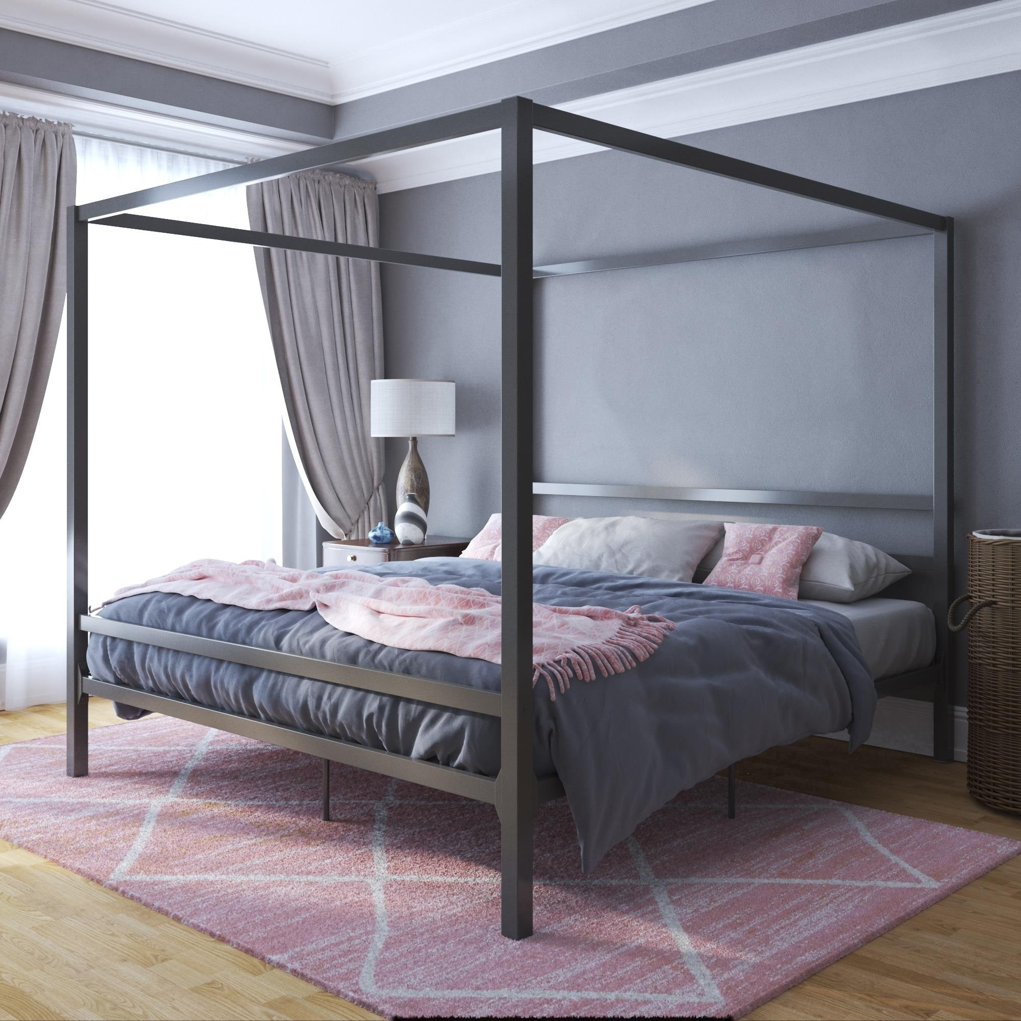 Shop Avenue Greene Gia Metal Canopy King Bed On Sale Overstock 27078779 Grey