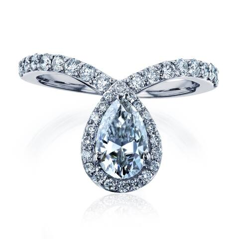 Annello by Kobelli 14k White Gold 1ct Pear Drop Moissanite and 1/2ct TDW Diamond Ring