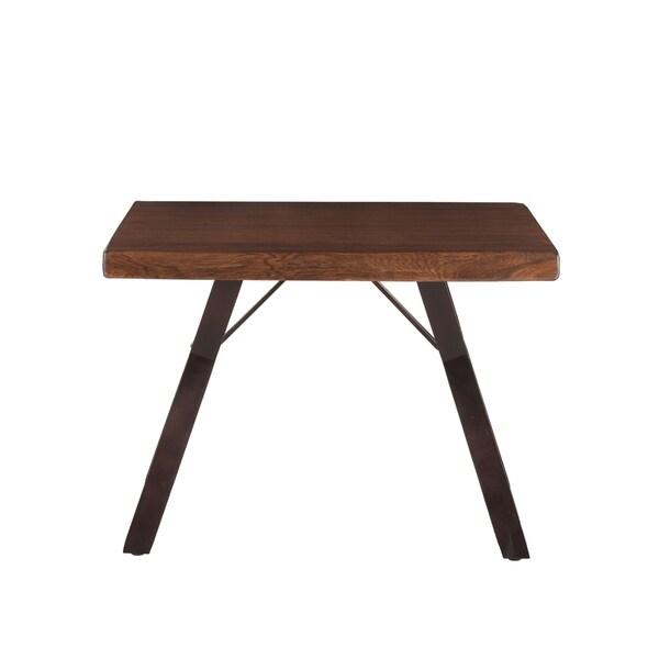 Nottingham 23-Inch Acacia Wood Side Table in Walnut Finish
