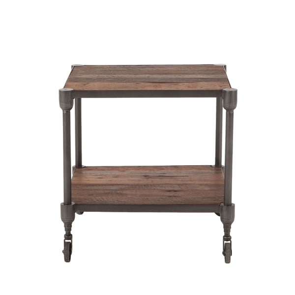 Paxton Reclaimed Teak 22-Inch Square Side Table with Wheels