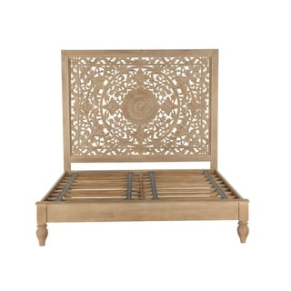 Haveli Whitewash Mango Wood Queen Bed