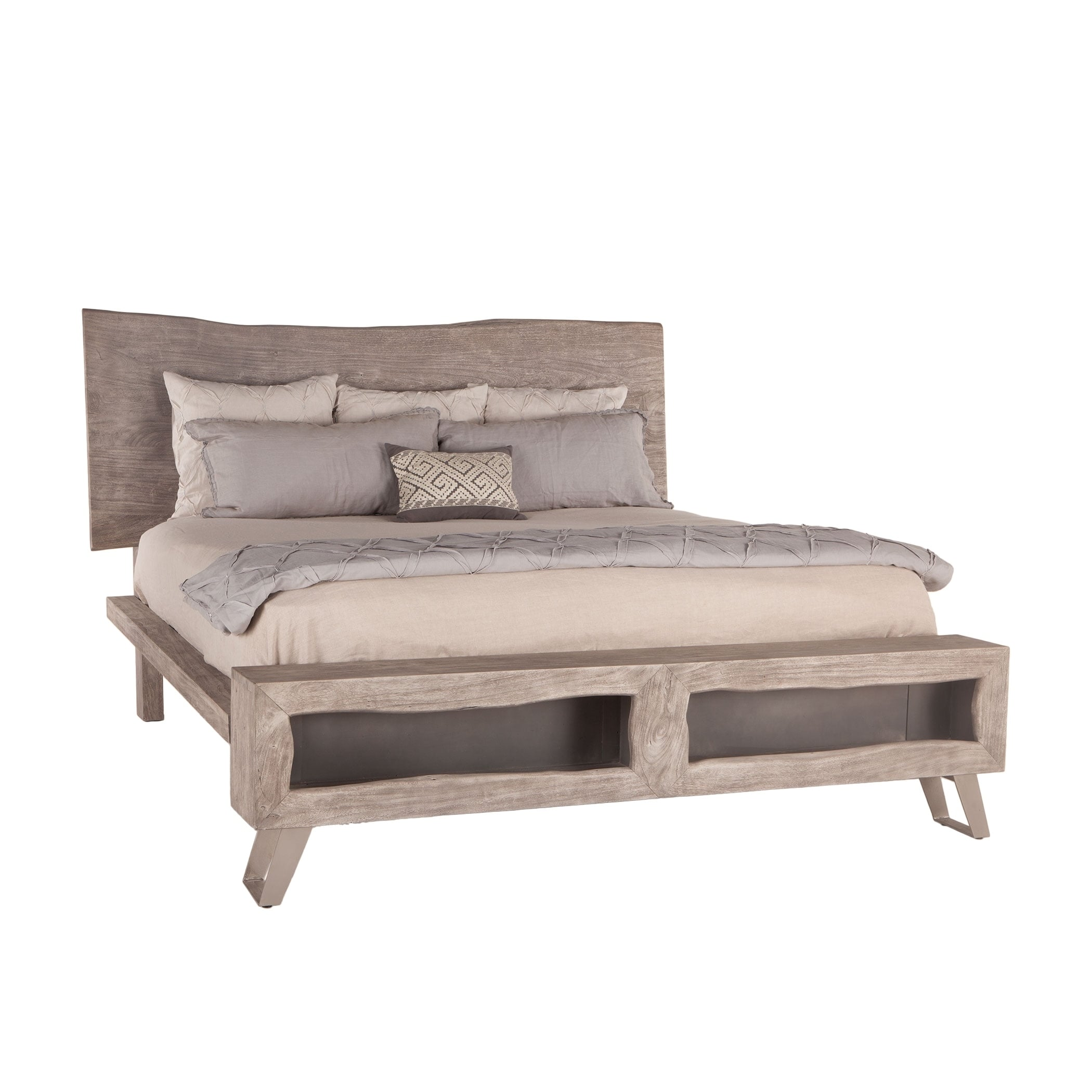 Weathered Gray Acacia Wood Queen Bed