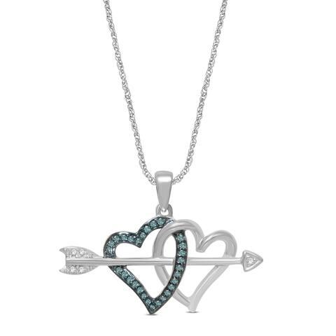 Unending Love Sterling Silver 1/10cttw Diamond Doulbe Heart Pendant