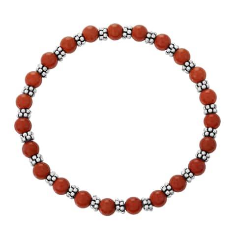 Red Jasper Beaded Stretchable Bracelet 925 Sterling Silver Jewelry