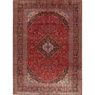 """Vintage Kashan Medallion Handmade Wool Persian Area Rug - 13'4"""" x 9'10"""""""
