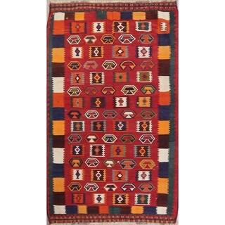 "Vintage Kilim Geometric Hand Woven Wool Persian Area Rug - 7'9"" x 4'7"""