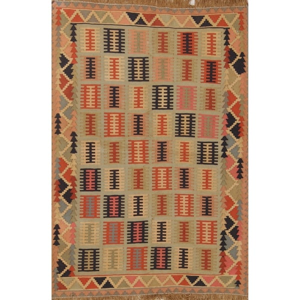 "Kilim Modern Geometric Hand Woven Wool Persian Area Rug - 4'9"" x 3'5"""