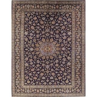 """Vintage Kashan Floral Handmade Wool Persian Area Rug - 12'11"""" x 9'10"""""""