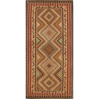 "Kilim Geometric Hand Woven Wool Persian Area Rug - 9'4"" x 4'8"""