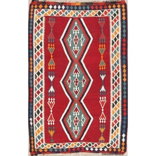 "Kilim Geometric Hand Woven Wool Persian Area Rug - 7'2"" x 4'10"""