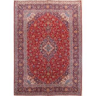 """Vintage Kashan Medallion Handmade Wool Persian Area Rug - 13'2"""" x 9'7"""""""
