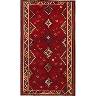 "Vintage Kilim Geometric Hand Woven Wool Persian Area Rug - 9'8"" x 5'6"""