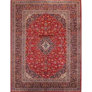 """Vintage Kashan Medallion Handmade Wool Persian Area Rug - 12'8"""" x 9'9"""""""