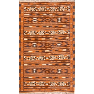 "Kilim Geometric Hand Woven Wool Persian Area Rug - 6'0"" x 3'8"""
