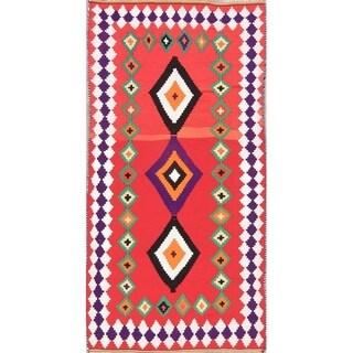 "Kilim Geometric Hand Woven Wool Persian Rug - 8'1"" x 4'1"" Runner"