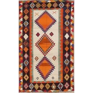 "Vintage Kilim Geometric Hand Made Wool Persian Area Rug - 8'2"" x 4'11"""