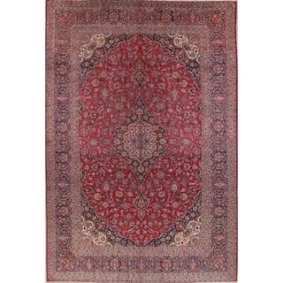 "Antique Kashan Medallion Handmade Wool Persian Area Rug - 13'4"" x 9'1"""