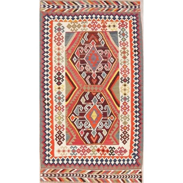 "Kilim Geometric Hand Woven Wool Persian Area Rug - 7'5"" x 4'4"""