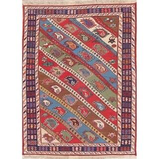 "Kilim Geometric Hand Woven Wool Persian Area Rug - 4'10"" x 3'9"""