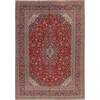 """Vintage Kashan Medallion Handmade Wool Persian Area Rug - 13'5"""" x 9'7"""""""