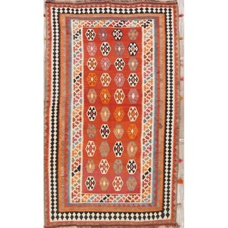 "Kilim Geometric Hand Woven Wool Persian Rug - 9'4"" x 5'4"" Runner"