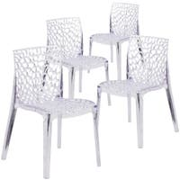 4PK Transparent Stacking Side Chair with Artistic Pattern Design