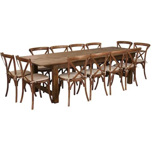 "9'x40"" Farm Table/12 Chair Set"