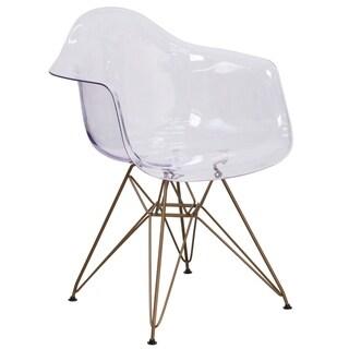 Porch & Den Lamb Transparent Plastic and Metal Side Chair