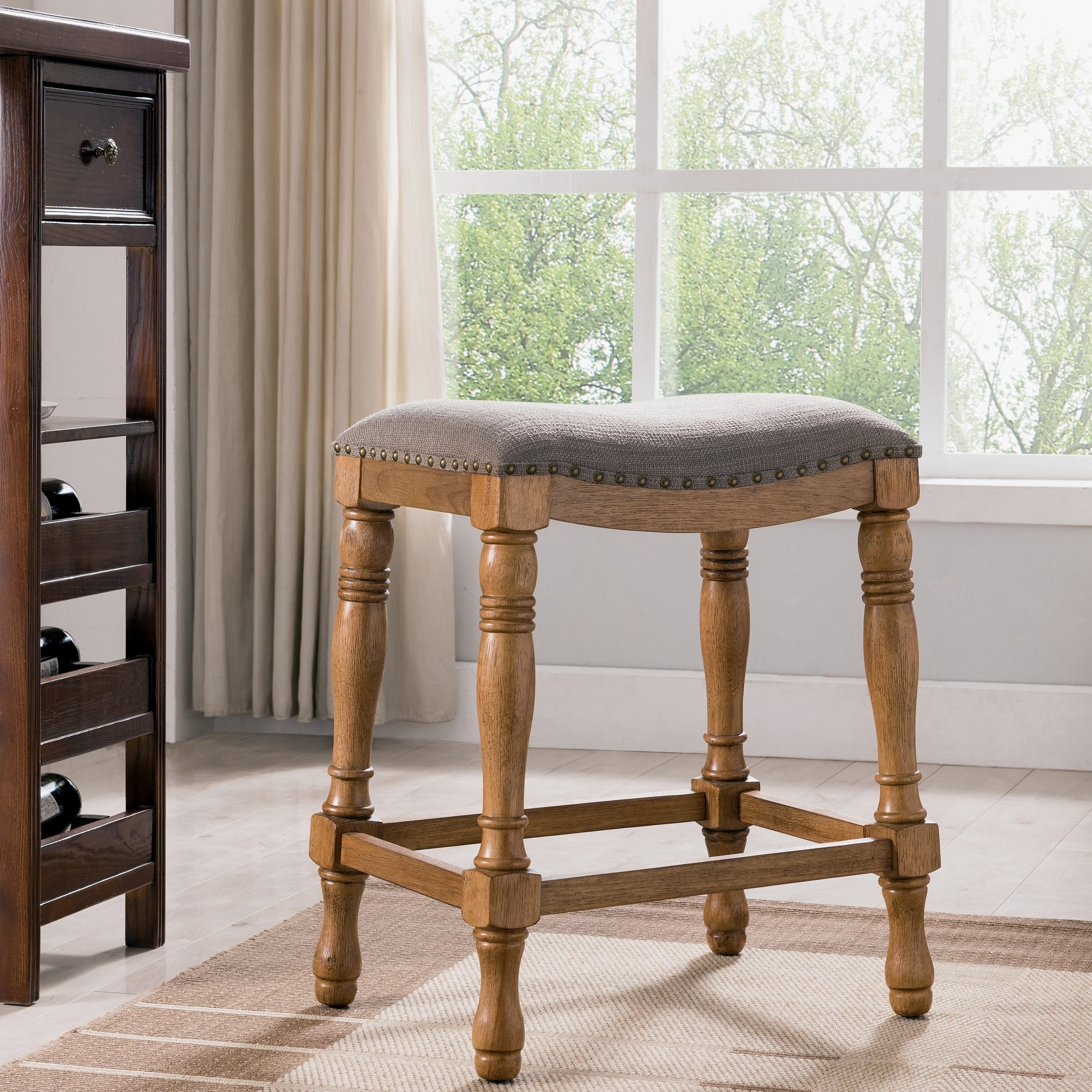 Magnificent Rustic Wood And Linen 25 Saddle Seat Counter Stool Pdpeps Interior Chair Design Pdpepsorg