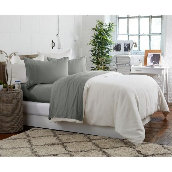 King Basics Heather Cotton Jersey Bed Sheet Set Dark Grey