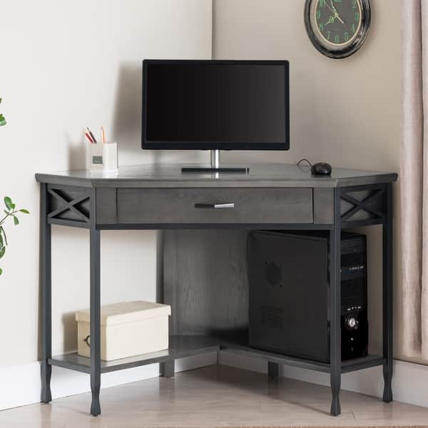 Shop Grey Metal 1 Drawer Corner Computer Writing Desk On