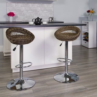 Lancaster Home Adjustable Wicker and Metal Swivel Contemporary Bar Stool