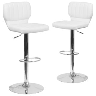 2PK Vinyl Adjustable Height Barstool w/ Vertical Stitch Back & Chrome Base