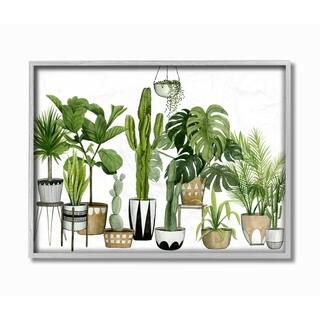 The Stupell Home Decor Boho Plant Scene with Cacti and Succulents Watercolor Gray Framed Art, 11 x 14, Proudly Made in USA