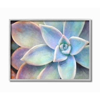 The Stupell Home Decor Succulent Plant Vibrant Bloom Painting Gray Framed Art, 11 x 14, Proudly Made in USA