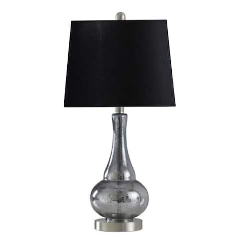 StyleCraft Glass and Metal Sheer Blue Table Lamp - 25 in