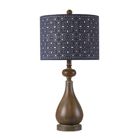 """StyleCraft Polyresin Brown Faux Wood Table Lamp - 28"""""""