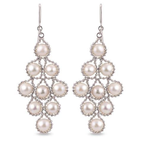 PearLustre by Imperial Sterling Silver White Freshwater Pearl Chandelier Earrings