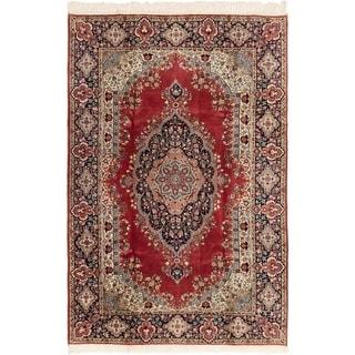 eCarpetGallery  Hand-Knotted Hereke Dark Red Wool Rug - 6'9 x 10'0