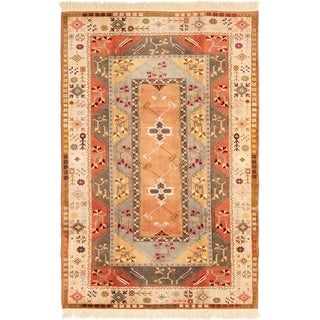 eCarpetGallery  Hand-Knotted Ushak Dark Copper, Ivory Wool Rug - 6'6 x 9'10