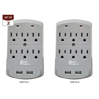 Royal Designs Gray USB Wall Mount and Surge Protector with 6 Outlets and Two USB Ports, Set of 2
