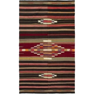 eCarpetGallery  Flat-weave Bohemian Copper, Dark Brown Wool Kilim - 5'3 x 9'2