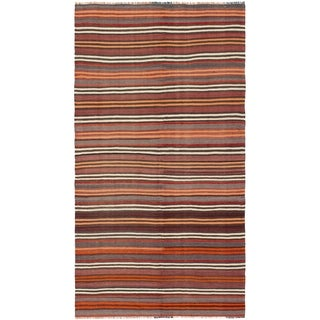 eCarpetGallery  Flat-weave Bohemian Dark Red Wool Kilim - 4'7 x 8'3