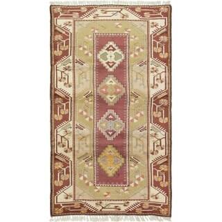 eCarpetGallery  Hand-Knotted Ushak Khaki Wool Rug - 3'11 x 7'1